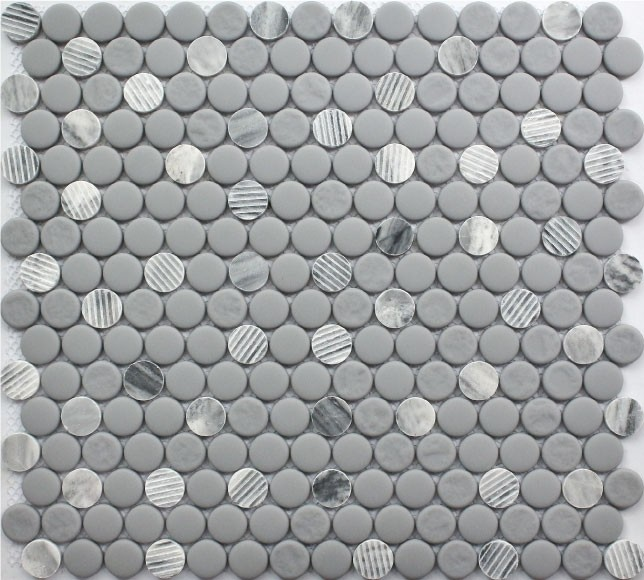 Grey Granite Penny Round Natural Stone Marble Tile By Roca