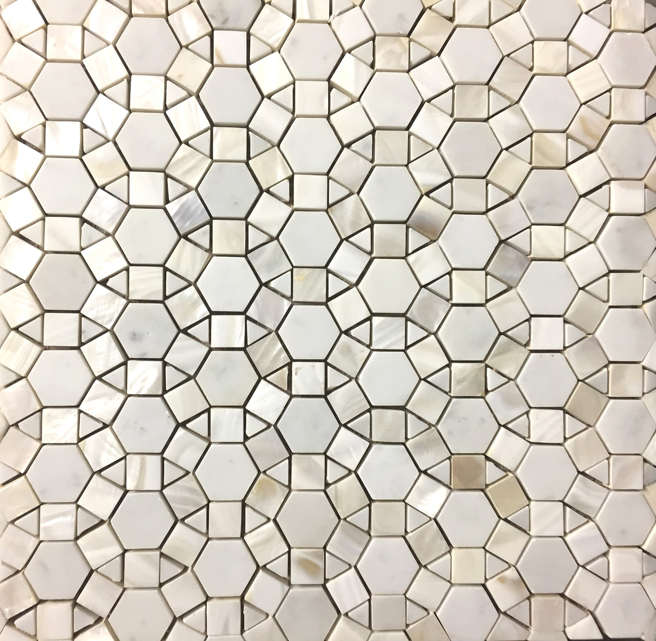 Bloom Water Jet Mosaic Tile In White Shell And Italian