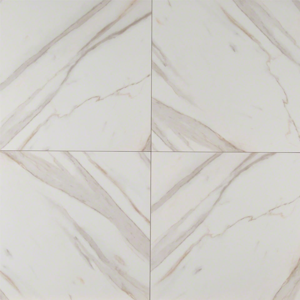 Pietra calacatta 12 in x 12 in glazed polished porcelain for 12x24 porcelain floor tiles