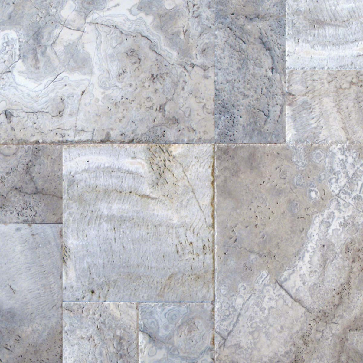 Silver Travertine Pavers Tuscany Beige 8x8 Tumbled Pavers Tile