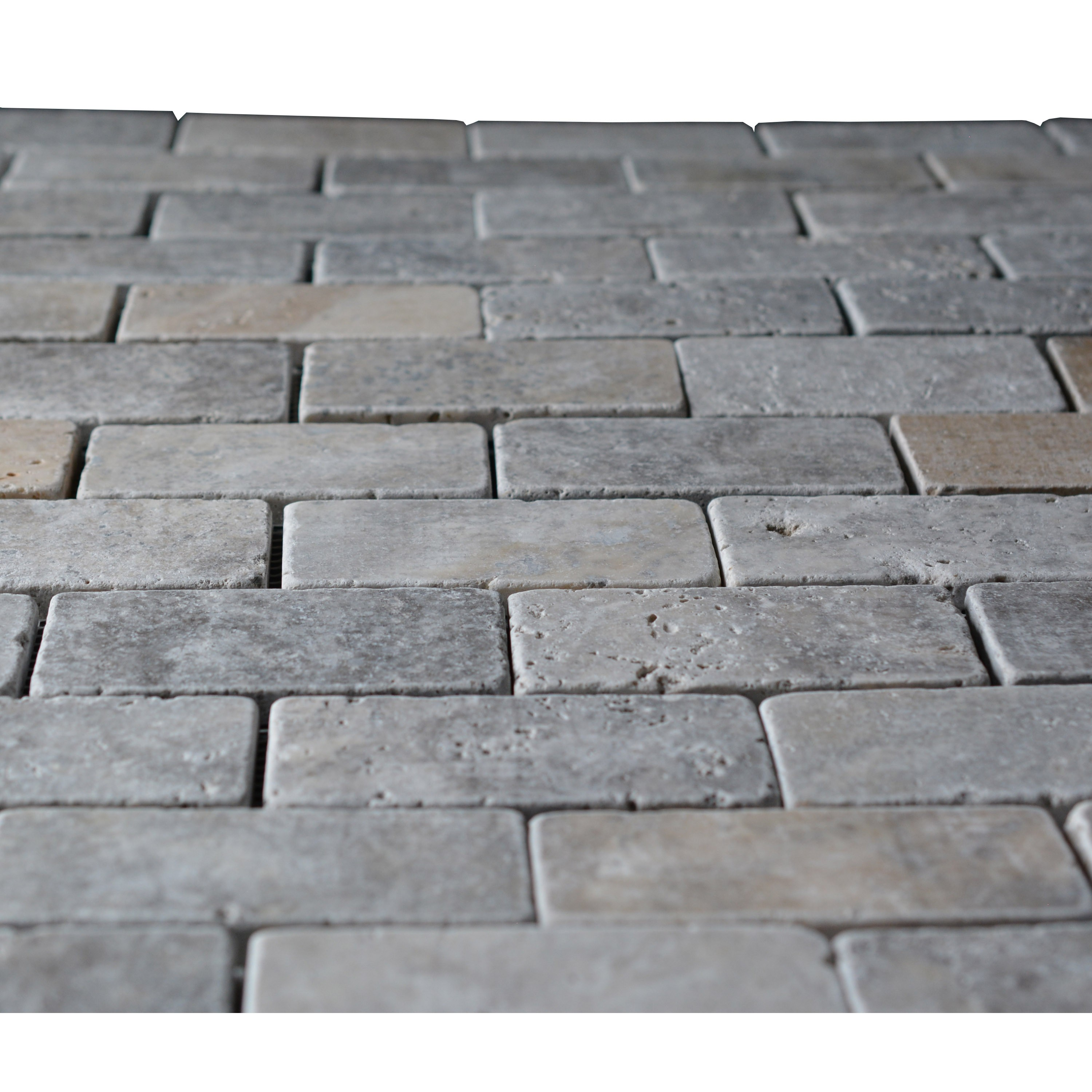 Silver Travertine 2x4 Tumbled Mosaic Tile Mosaic