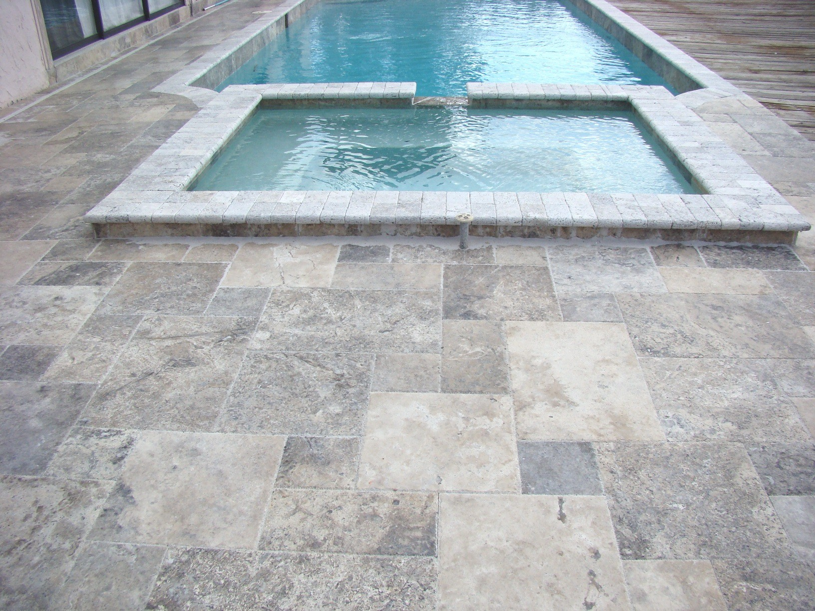 8 X 8 Silver Travertine Tumbled Pavers For Driveway, Patio And Pool Deck