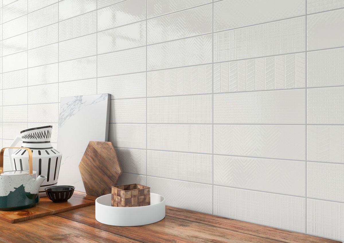 - Urban Pure 3D Mix 4x12 Subway Glossy White Ceramic Wall Tile