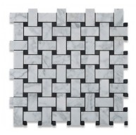 Italian Carrara White 1x2 Basketweave with Black Dots Polished Marble Mosaic Tile