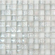 Mix Sky Blue Glass and marble Mosaic tile 15x15mm