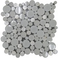 Glacier Beach White Bubbles Pattern Glass and Shell Mosaic Tile