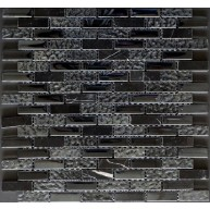 Black Brick Pattern Plain and Textured Mix Glass Mosaic Tile