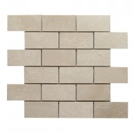 2 in. x 4 in. Botticino Brick Pattern Polished Marble Mosaic Tile | Floor | Wall | Accent | Backsplash | Shower