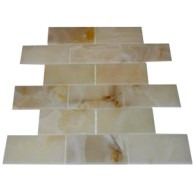 2x4 Rustic White Onyx Polished Mosaic Tiles on the Mesh Sheet