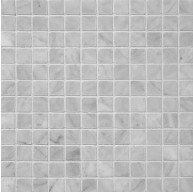 1x1 Bianco White Honed Square Pattern Mesh-Mounted Marble Mosaic Tile