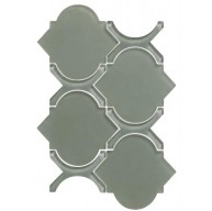 Arabesque Pattern Grey Glass Mosaic Tile