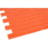 Fire Orange 1 in.x 3 in.Glass Glossy Finish Tiles