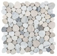 Aphrodite Blue Beautiful Mix of Carrara, Haisa & Blue Palissandro Marble in Heart Shape Polished Mosaic Tile | Kitchen | Bathroom | Shower | Wall | Floor | Backsplash | Accent Wall
