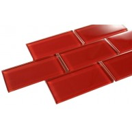 Broadway 3 in. x 6 in.Ruby Red Glass Mosaic Tile