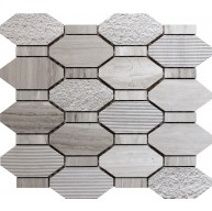 Pacific Rim Wooden Grey Marble White Hexagon Mosaic Tile