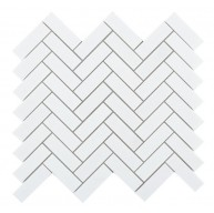 1 in. x 3 in. Chevron Long Thassos White Herringbone Honed Marble Mosaic Tile | Wall | Floor | Backsplash | Accent Wall | Kitchen | Bathroom | Shower