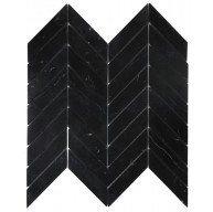 Chevron Marquina Black Polished Marble Mosaic Tile | Wall | Floor | Backsplash | Accent Wall | Kitchen | Bathroom | Shower