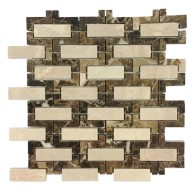 Crema Marfil and Dark Emperador Maze Pattern Polished Marble Mosaic Tile