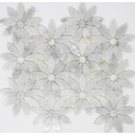 10x11.25 White Carrara Flower Pattern Marble Waterjet Mosaic tile