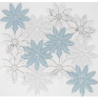10x11.25 White Blue Flower Pattern Marble Glass Waterjet Mosaic tile