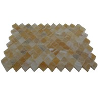 Honey Onyx Diamond Mosaics Polished Meshed on 12x12 Tiles