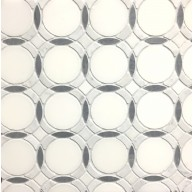 Infinity-Pure Water Jet Tile White Carrara and Bardiglio Polished Marble Mosaic
