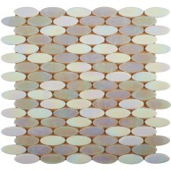 12x12 Laguna Snow Oval Pattern Stained Glass Mosaic Tile | Pool Rated Tile
