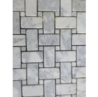 Italian White Carrara Basketweave with White dots Tumbled Mosaic Tile
