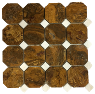 12x12 Polished Multi Brown Onyx Octagon with White Dot Mesh-Mounted Mosaic
