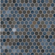 11.3x12.2 Penny Round Azul Glossy Porcelain Mosaic Tile