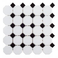 11.5 in. x 11.5 in. Retro Bianco White Octagon with Black Dot Glossy Porcelain Mosaic Tile | Kitchen | Bathroom Floor | Shower | Wall | Backsplash