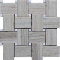 Thassos White & Crystal Sand Polished Basketweave Marble Mosaic Tile
