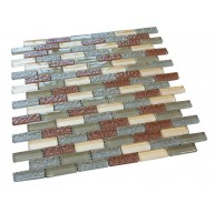 Dessert Red Gold & Grey 1/2 in.x 2 in.Brick Pattern Glass Mosaic Tile