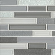 12x12 Skyline Staks Interlocking Pattern Grey Glass Mosaic Tile