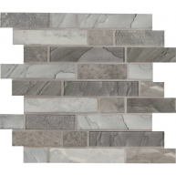12x12 Tarvos Interlocking Pattern Grey Recycled Glass Mosaic Tile