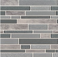 Smoky Alps Interlocking 12x12 Grey Porcelain Glass Mosaic Tile