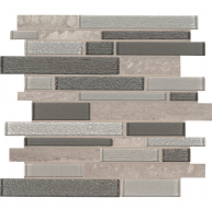 Snowmass Interlocking Grey Porcelain Glass Mosaic Tile