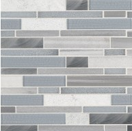 Harlow Interlocking Grey Glass Stone Metal Blend Mosaic Tile