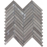 12 in. x 12 in. Athens Gray Herringbone Pattern Polished Mosaic Tile by Soci