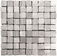 12x12 Plantation Wooden Grey Mesh Mounted Marble Mosaic Tile
