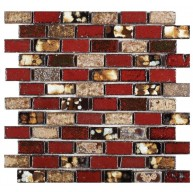 1x2 Brick Pattern Red, Beige and Brown Handmade Ceramic Mosaic Tile