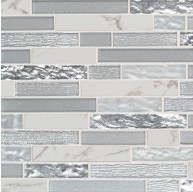 11.81 in. x 12 in. Whistler Ice Interlocking Pattern White Porcelain Glass Mosaic Tile | Backsplash | Accent Wall | Shower | Kitchen & Bath