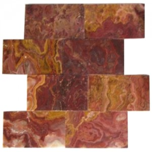 3x6 Multi Red Polished Subway Pattern Onyx Tile