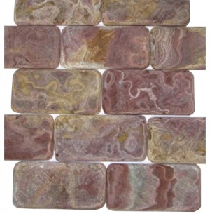 3x6 Multi Red Tumbled Subway Pattern Onyx Tile