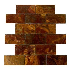 2x4 Multi Red Onyx Polished Mosaic Tiles on the Mesh Sheet