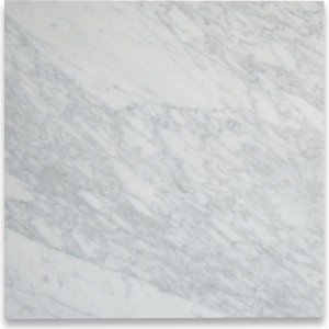 Italian White Carrara Marble Polished 18x18 Floor and Wall Tile