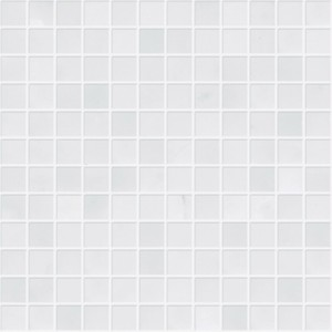 1x1 Bianco White Carrara Marble Square Pattern Polished Mesh Mounted Mosaic Tile