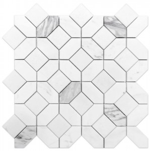 12x12 Eclipse White Marble Polished Mesh Mounted Mosaic Tile
