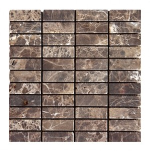 1x3 Dark Emperador Tumbled Bricks Pattern Mesh-Mounted Marble