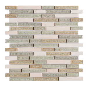 11x12 Linear Pattern White Travertine Mixed With Blue, Green Crackle Glass Mosaic Tile